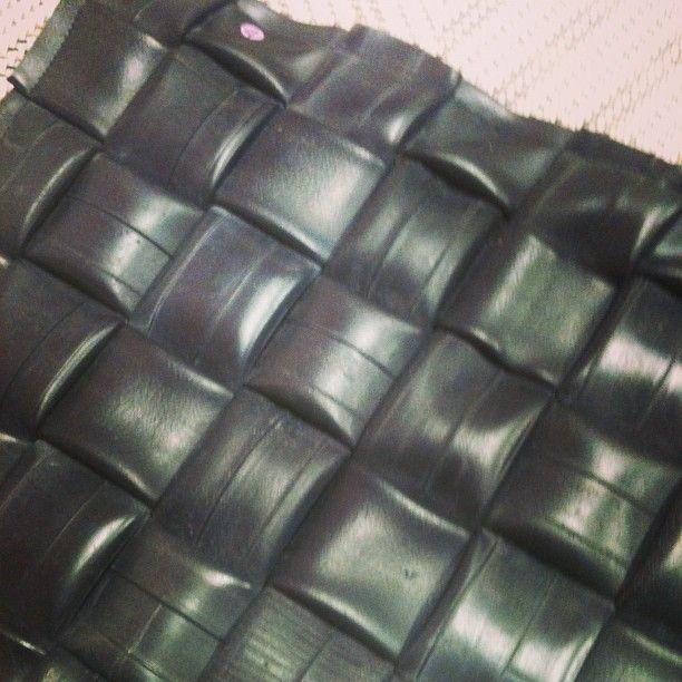 woven recycled bike tyre cushion