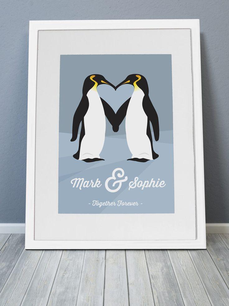 Pengui-love - Personalised print from MAYKI