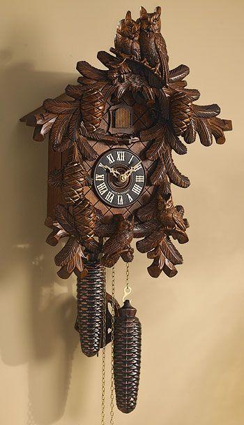 5118201530:Hand-carved Owl Cuckoo Clock