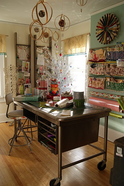 Office / Craft Room -Lots I like about this! It has so many fun elements!