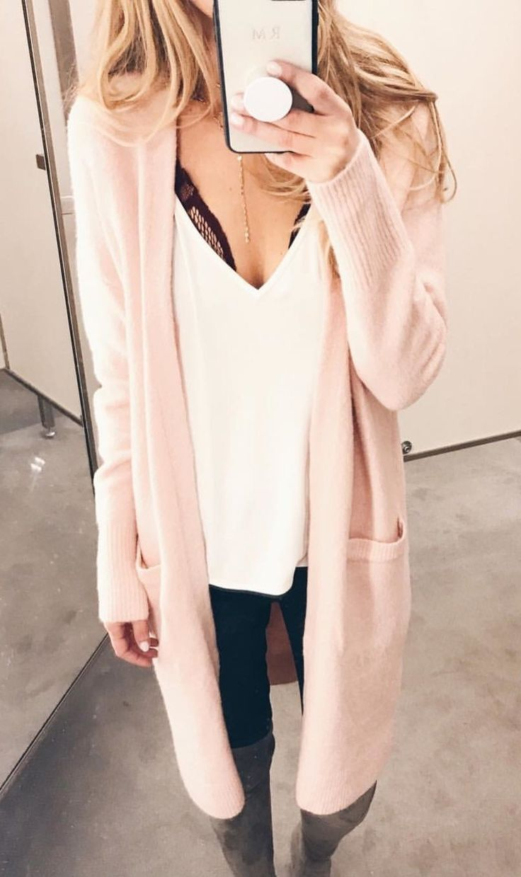 #winter #outfits white v-neck shirt and cardigan