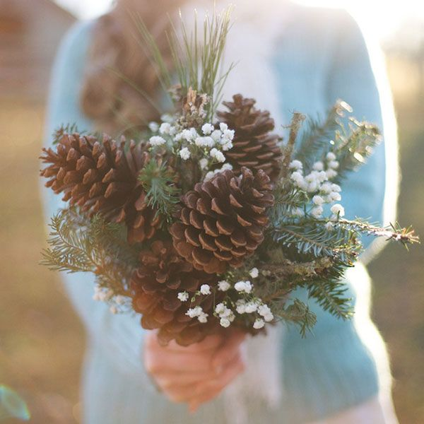 DIY Pinecone bouquet - featured on @BridalGuide as winter non-floral bouquet idea