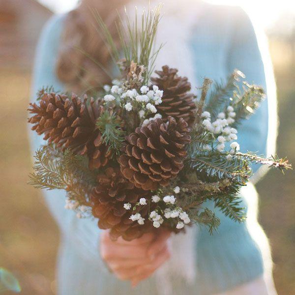 DIY Pinecone bouquet - featured on @BridalGuide as winter non-floral bouquet idea