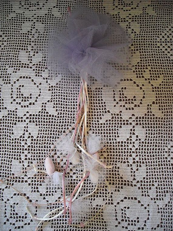 Lilac tulle pompom christening  baptism by FavorsAndMorebyFiona, $2.67