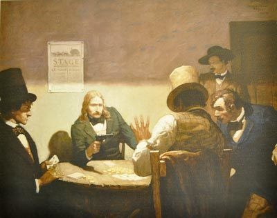 """""""Wild Bill Hickok at Cards"""" by N.C. Wyeth. Hickok's own death while playing poker is depicted in IN A RENEGADE'S EMBRACE, but the anecdote behind this scene is that Bill drew his gun and said to the cheater, """"I'm calling the hand that's in your hat."""""""