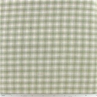 CCW9-31- Sage Green Rustic Woven Plaid Fabric