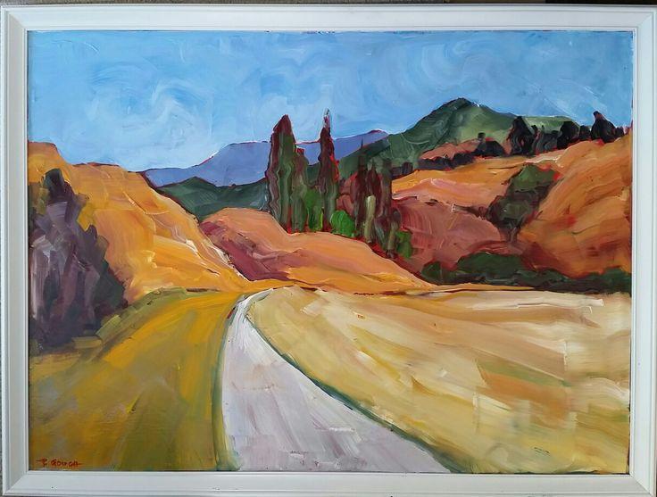 Otago Hills 85cm x 60cm framed on board www.paulinegough.com