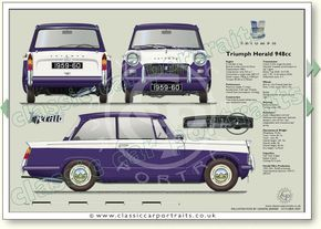Triumph Herald 948cc Saloon1959-67 classic car portrait print