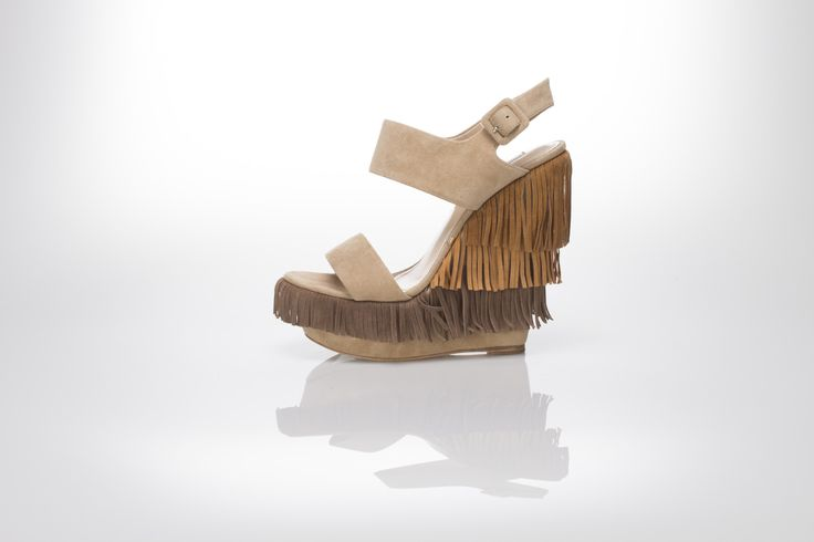 fringed multi-tone suede sandal wedge  sand-cuir-beige suede  Gianni Renzi Couture Luxury leather shoes, sexy high heels!