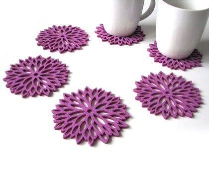 Podkładki astry fioletowe 6szt. - Podkładki - Dekoracje wnętrz