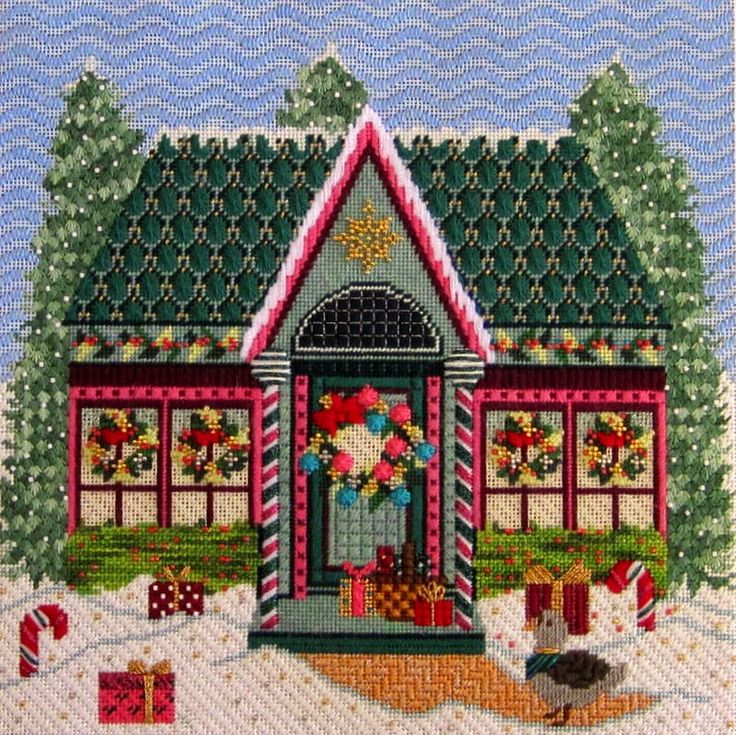 The Owl Stitchery Blog, needlepoint house