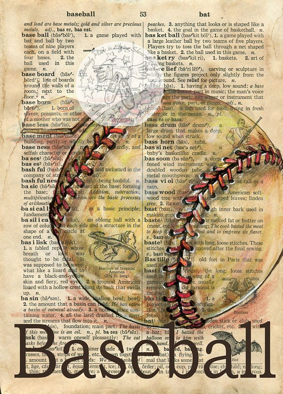 PRINT:  Baseball Mixed Media Drawing on Antique Dictionary by Flying Shoes Art Studio