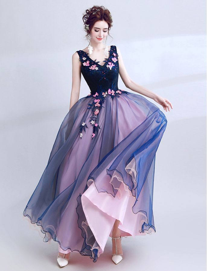 795366e4545 V Neck Floral Lace Colour Block Prom Dress School Formal Ball Gown 1950s  Vintage Inspired