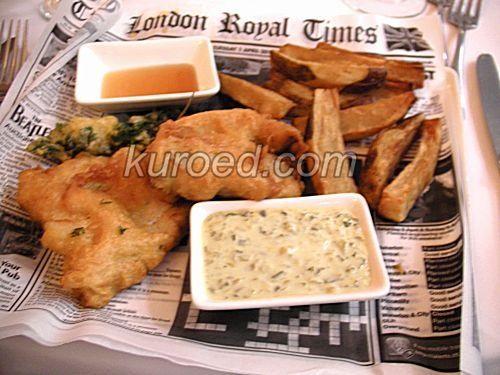 Рыба в кляре с картошкой фри