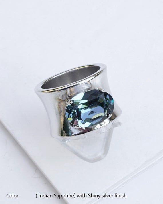925 Sterling Silver Natural Gemstones ring Garnet CZ Unisex Chunky Sterling Silver ring Silver Statement ring