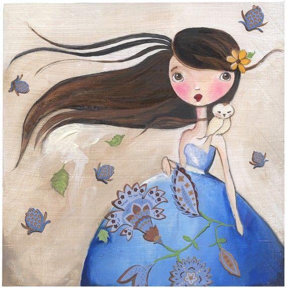 Wilderness Art, Owl art, Girl Art Print, teen gift,  girl room art, woman's gift, book lover on Etsy, $13.00