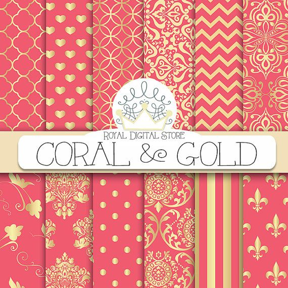 Coral digital paper: CORAL AND GOLD with by royaldigitalstore