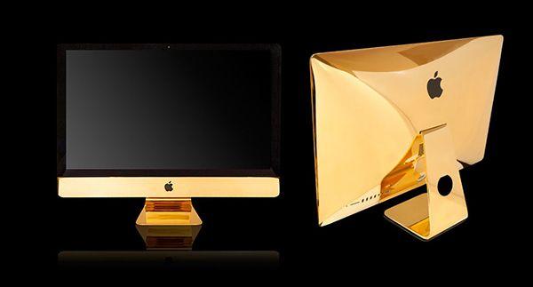 Si te gusta combinar la tecnología y el lujo, la empresa londinense Goldgenie recubre de oro de 24k tu dispositivo mac, nuevo o no.