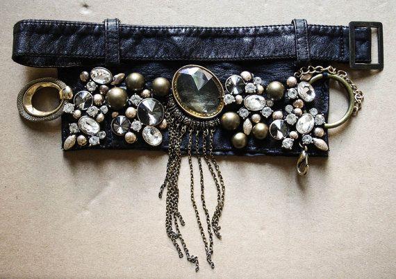 Black Leather Golden & White Bracelet Tribal Gypsy by PomPaw