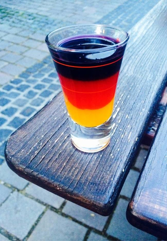 Honey vodka first strawberry liquor second then jagermeister.