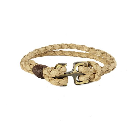 hand made milky coffee leather by bracelet