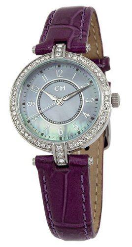 Carlo Monti Women's CM121-190 Venezia Analog-Quartz Watch Quartz movement. Case diameter: 28. Swarovski crystals. Leather strap purple. Water-resistant to 50 M (165 feet).  #Carlo_Monti #Watch
