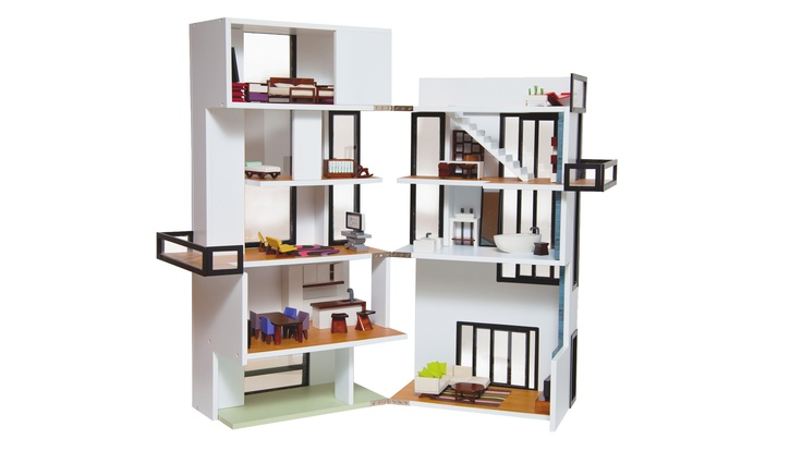 True-to-life Model Dollhouse  By Brinca Dada •  From $599.00  •  Inspired by Gerrit Rietveld's Rietveld's Schröder House, Piet Mondrian's geometric shapes and Christian Liaigre's interior design.  •  Features a two-story living room, elevator, roof top pool and glass rail balconies in both the master bedroom and children's bedroomBennett House, Brinca Dada, Models Dollhouse, Modern Models, Models Bennett, Dolls House, Modern Dollhouse, Doll Houses, True To Lif Models