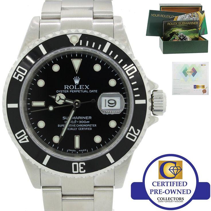 Rolex Submariner Date 16610 Steel Dive Watch SEL Pre-Ceramic No Holes Black wB&P
