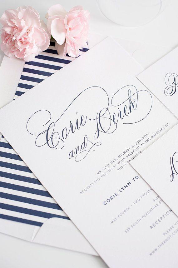 Navy Wedding Invitation - Navy Wedding Invites - Stripes, Blue, Elegant - Script Elegance Wedding Invitations by Shine Invitations on Etsy, $100.00 Affordable and cute!