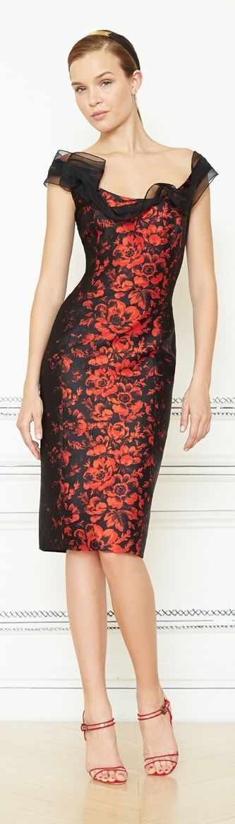 Carolina Herrera Resort 2014 - red and black dress