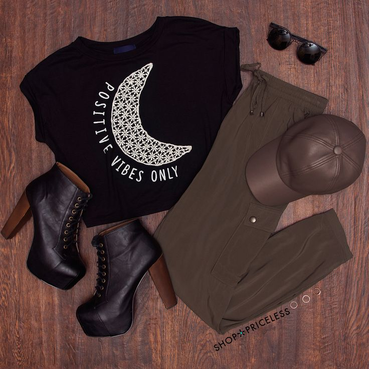 Positive Vibes Only Crop Top - Black