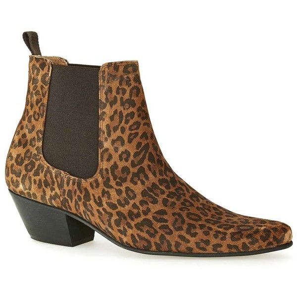 TOPMAN Leopard Print Suede Chelsea Boots (2,150 MXN) ❤ liked on Polyvore featuring men's fashion, men's shoes, men's boots, multi, mens pointed toe shoes, mens suede boots, mens suede shoes, mens pointed toe boots and mens cuban heel boots