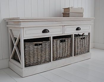 seaside cottage storage bench with baskets and drawers for hall furniture