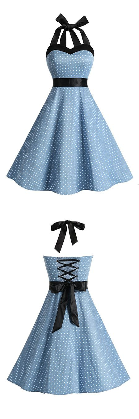 50s dresses,vintage style dresses,polka dots dress,halter dress,rockabilly dress