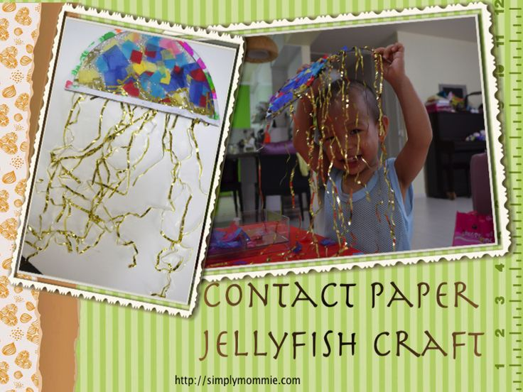 jellyfish collage Sea/Ocean themed crafts   Contact paper Jellyfish craft