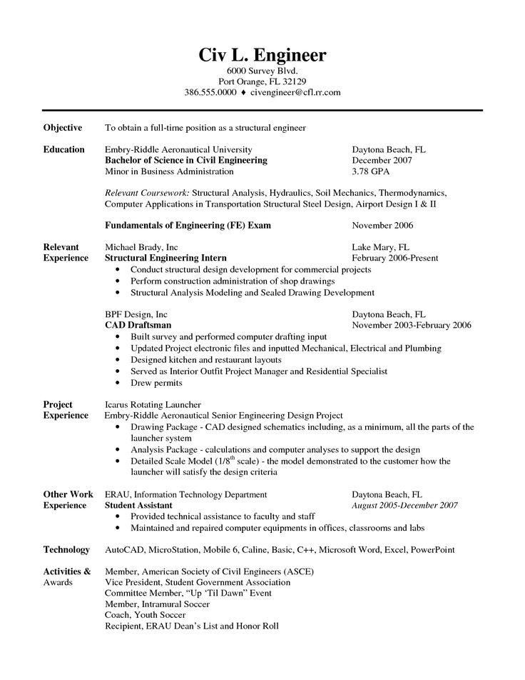 Pocket 2c88469bbf9aa002121b9e399aa06ee8--sample-resume-resume - resume format for civil engineer