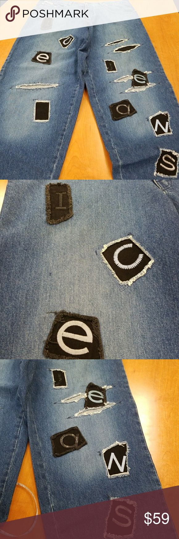 Icejean Iceburg patched denim jeans 36 x 34 EUC Inseam 34 waist 36. Ankle opening is inch across. Hips are 25 inch when laying flat across. Great condition, no issues. Clean hem, no thigh rub, great like new condition. You will love this style and statement. The holes are patched behind, quality!  Bin6 Iceberg Jeans Relaxed