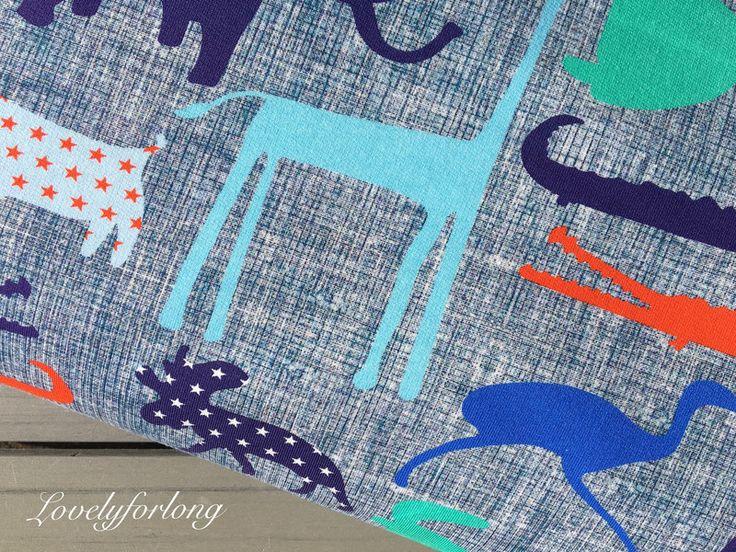 """Kinderstoffe -  """"Krokofant"""" by Gesprächsstoff French Terry - ein Designerstück von lovelyforlongDIY bei DaWanda"""