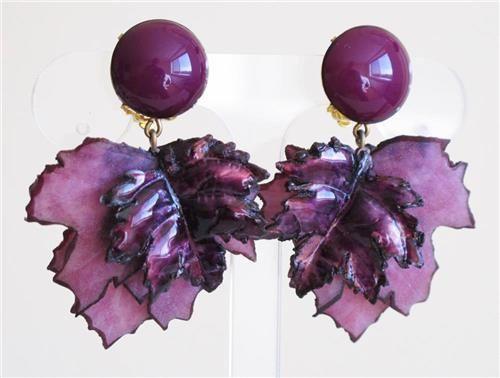 Vintage Cilea French Designer Signed Carved Flower Cluster Plastic Clip Earrings