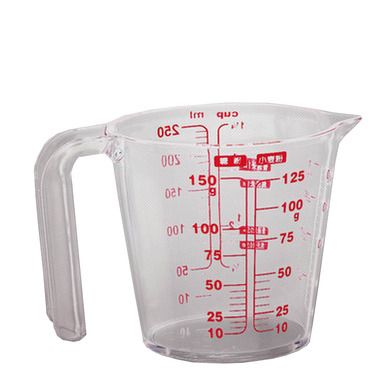 Plastic Measuring Cup with Handle Three Kinds of Red Scale Baking Tools 250ml