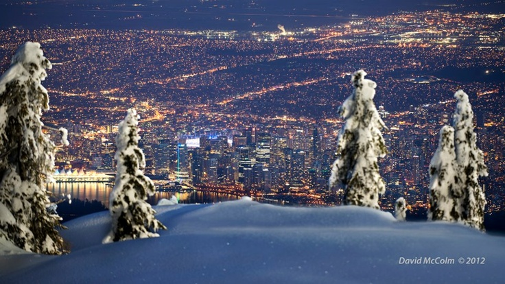 Ski Stuff Night View Of Vancouver B.c From The Top Of Cypress