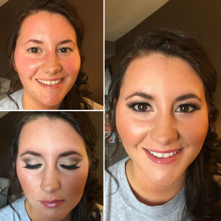 Before and after makeup of bridesmaid from August 19, 2016. Semi-dramatic, neutral eye makeup with glowy neutral blush and neutral pink gloss.