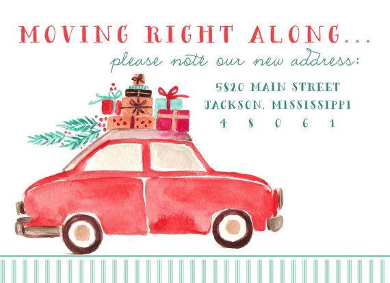 Moving Right Along Watercolor We've Moved Moving Change of Address Christmas Cards-FREE SHIPPING or DIY printable