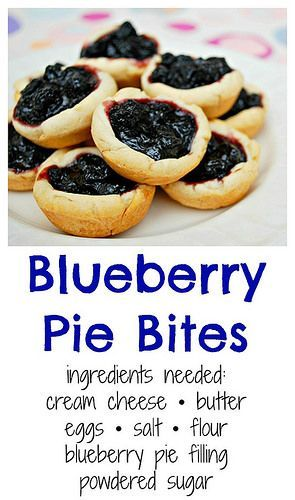 Blueberry Pie Bites! Pie gets downsized in a delicious bite where a super easy pie crust is filled with a homemade blueberry pie filling, perfect for snacking without fork.