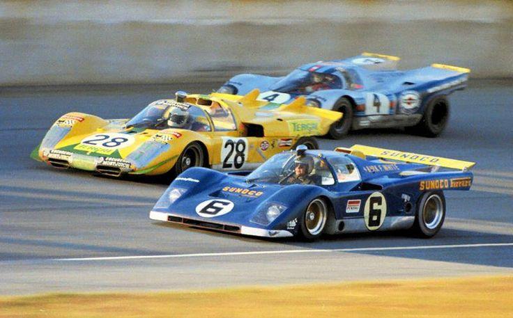1971 24 Hours of Daytona. Mark Donohue /David Hobbs (Ferrari 512 M), Arturo Merzario /José Juncadella (Ferrari 512 S Spyder) and Elford /Gijs van Lennep (Porsche 917 K)