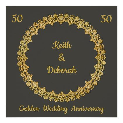 Customizable Golden Wedding Anniversary Poster - gold wedding gifts customize marriage diy unique golden
