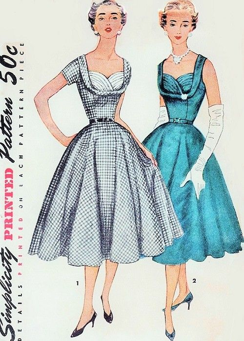 1950s Beautiful Cocktail Party Evening Dress Pattern Rockabilly Shelf Bust Fitted Bodice Full Flare Skirt Gorgeous Style Simplicity 4704