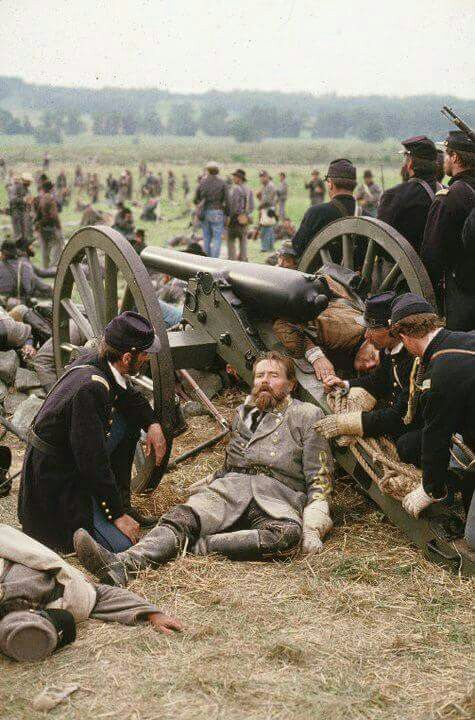 Taken from the film Gettysburg, Armistead lay dying after reaching Union lines from Pickett's charge.