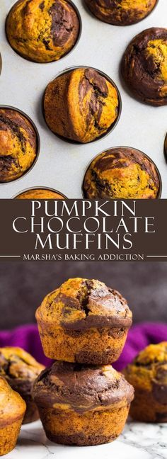 Pumpkin Chocolate Muffins – These deliciously moist pumpkin muffins are swirled with chocolate and perfectly spiced. Enjoy with your morning tea or coffee this autumn!