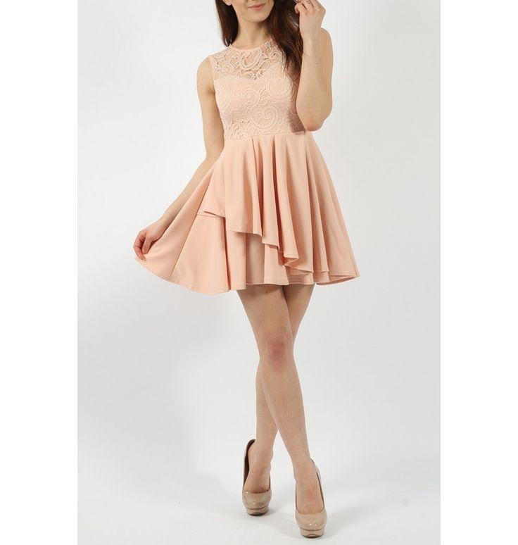 Nude φόρεμα με δαντέλα και βολάν